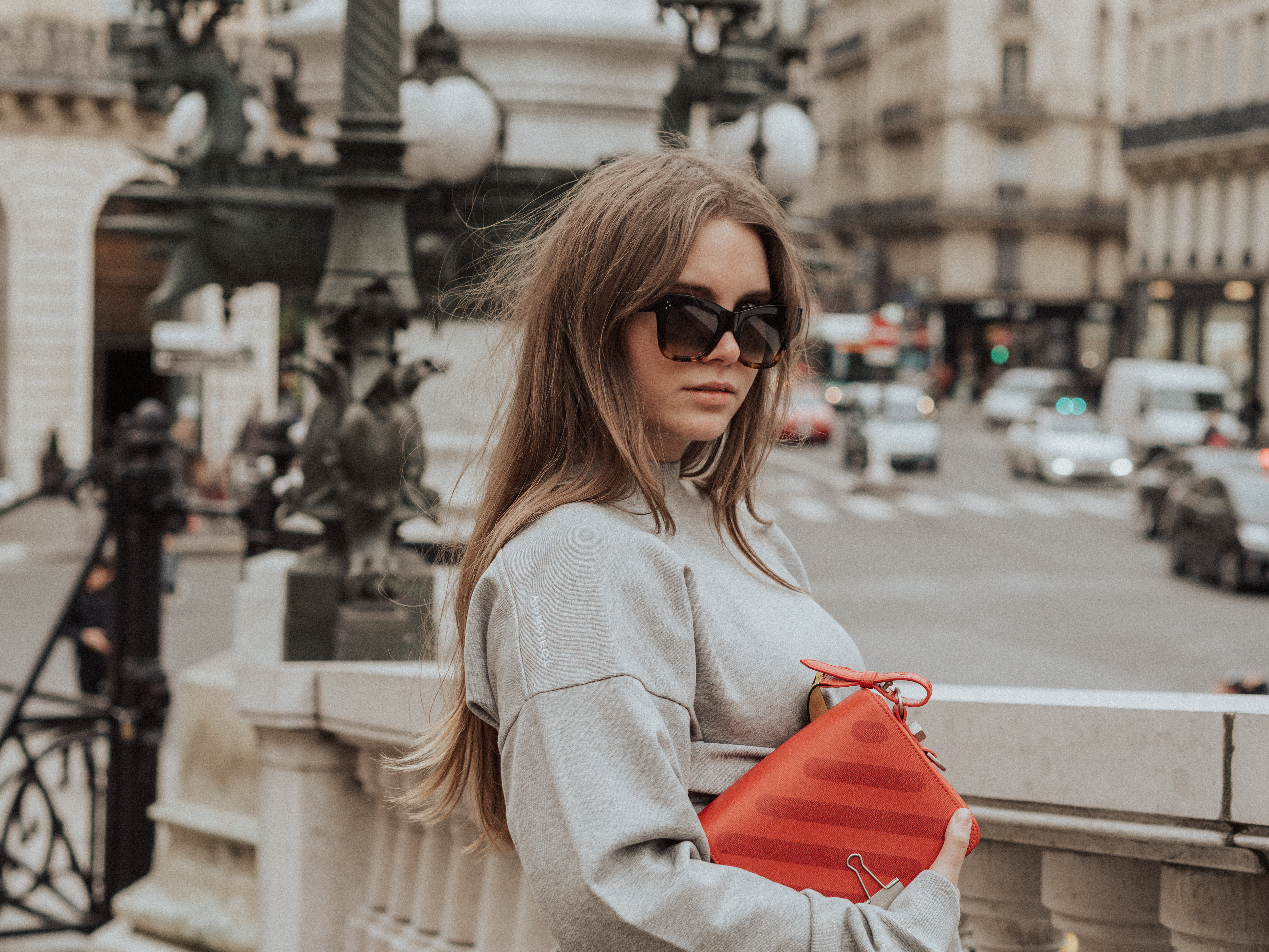 Fashion blogger Dominique Candido at PFW wearing Y Project, off white and Celine sunglasses
